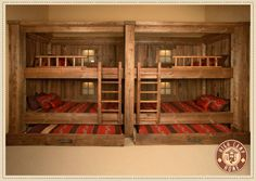 49 Warm and Beauty Bunk Beds with Wooden Wall Design Cabin Bunk Beds, Bunk Beds With Stairs, Kids Bunk Beds, Bunk Bed Wall, Cabin Loft, Cabin Homes, Log Homes, Wooden Wall Design, Built In Bunks