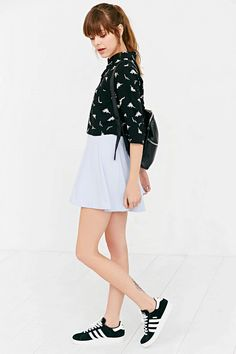 White Pepper Dinosaur Cropped Button-Down Shirt - Urban Outfitters