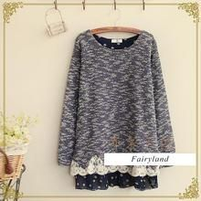 Fairyland - Lace Trimmed Melange Knit Top