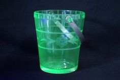 Vintage Vaseline Etched Glass Handled Ice Bucket Tongs Glows with Black Light | eBay