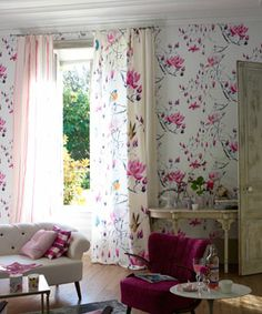 What an incredibly pretty Designer's Guild Madame Butterfly Peony fabric.  Imagine this for a little girls room? Or a big girl's room?