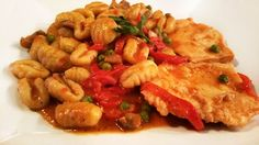 from 7/10/2015 - Pollo Gabriella - Fresh chicken breast with roasted red peppers, mushrooms and peas in a Marsala wine sauce over gnocchi pasta