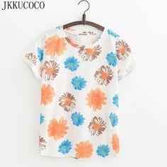 JKKUCOCO 2017 Newest big Chrysanthemum Flowers Print T-shirts Women t shirt Short Sleeve Casual Shirt Women Cotton t-shirt Tops #Affiliate