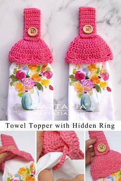 Crochet Top Towels The crochet towel toppers with hidden ring pattern makes for a nice kitchen accessory. You can remove the kitchen towel to wash it because of the ring! Crochet Towel Holders, Crochet Towel Topper, Crochet Dish Towels, Crochet Kitchen Towels, Crochet Dishcloths, Crochet Edgings, Crochet Motif, Crochet Stitches, Quick Crochet