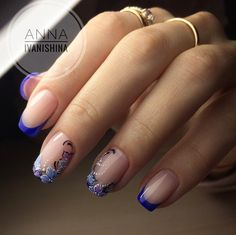 Easy Nail Art Designs for Women 2018 - Our Nail Fancy Nails, Pretty Nails, Blue Nails, My Nails, French Tip Nails, Nail Decorations, Cute Nail Designs, Flower Designs For Nails, Flower Nails