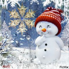 Winter Fantasy~ wish you were here sweet darling Vylette to really celebrate Christmas, to sing and play and open presents. Merry Christmas Gif, Christmas Scenes, Christmas Mood, Christmas Snowman, Christmas Greetings, Vintage Christmas, Animated Christmas Pictures, Christmas Images, Christmas Quotes