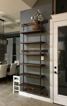 36 Super easy how to make DIY industrial pipe shelves, You are in the righ. storage Cart storage Childrens storage Guest storage Layout storage Ottoman storage Vintage storage Window appartement bathroom home decor wood room decor Industrial Pipe Shelves, Industrial Style, Diy Pipe Shelves, Pipe Shelving, Rustic Shelves, Farmhouse Shelving, Easy Shelves, Industrial Farmhouse Decor, Diy Wall Shelves