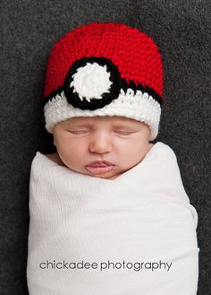 POKEMON POKEBALL Crochet Hat Baby Newborn 0 3 6 by morgansboutique