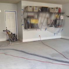 When preparing a floor we always make sure to cover all of our customer's belongings with plastic to ensure that no dust or loose paint chips are left behind.