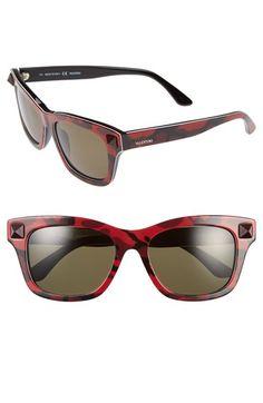Women's Valentino 'Rockstud' 53mm Retro Sunglasses - Camo Red
