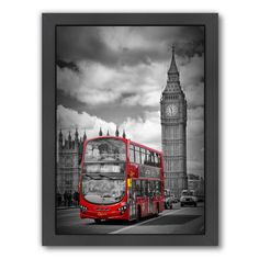 East Urban Home London Westminster Bridge Traffic Framed Graphic Art Size: