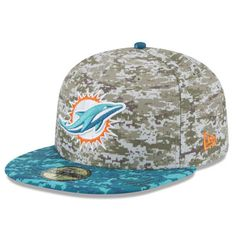 111cdea32d260 Miami Dolphins New Era 2015 Salute to Service On-Field 59FIFTY Fitted Hat -  Camo