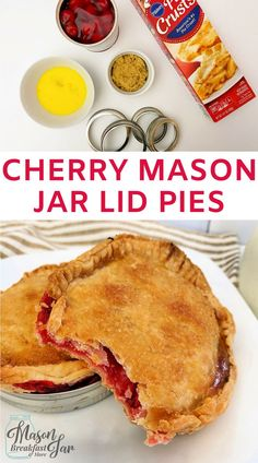 Looking for a delicious, easy, quick dessert? This cherry pie mason jar dessert is the perfect single-serving treat for any day of the week. Mason Jar Pies, Mason Jar Lunch, Mason Jar Desserts, Mason Jar Meals, Meals In A Jar, Mason Jar Breakfast, Dessert In A Jar, Cherry Desserts, Easy Dinner Recipes
