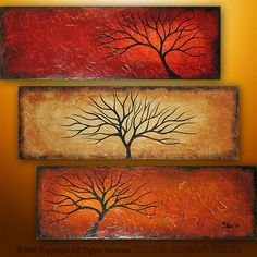 Abstract  Modern Landscape Tree Painting Original Art by Catalin