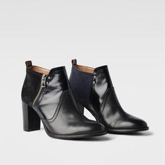 Gray ankle boots with contrasting wood block heels & premium