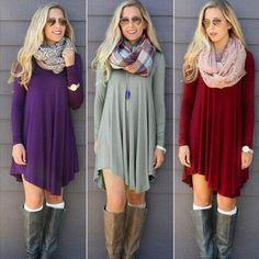 Chic Long Sleeve Autumn and Winter .. Mini Dresses 82dd08cf057c