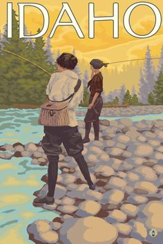 Idaho - Women Fly Fishing - Lantern Press Artwork