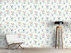 Design #Tapete Zarte Tulpen Flora, Delicate, Curtains, Shower, Prints, Design, Home Decor, Self Adhesive Wallpaper, Tulips