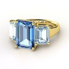 Emerald-Cut Blue Topaz Yellow Gold Ring with Aquamarine from Gemvara