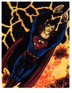 Superman ~ Acrylic on Bristol  ~Artist Chris Jennison
