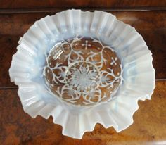 "VINTAGE FENTON OPALESCENT SPANISH LACE BOWL 11"" #FENTONSPANISHLACE"