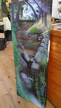 "Dragons Breath 18x48""Acrylic on gallery wrapped linen canvas by Artist Darcy Gerdes #SeeMyWork at Middle Ridge Winery Tasting Gallery located downtown Idyllwild, CA"