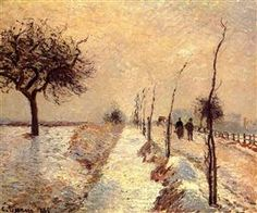 Road at Eragny, Winter - Camille Pissarro