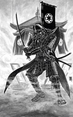 Star Wars Re-Imagined Samurai Darth Vader by Jun Bob Kim Comic Art Oriental, Samurai Wallpaper, Amidala Star Wars, Star Wars Tattoo, Samurai Art, Star Wars Art, Gi Joe, Starwars, Japanese Art