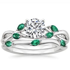18K+White+Gold+Willow+Matched+Set+With+Lab+Emerald+Accents+from+Brilliant+Earth; Birthstone colors
