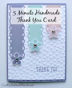 A cute handmade thank you card that just takes 5 minutes to create! It features pretty spring colors and rhinestone flower centers for added wow!  #stamping