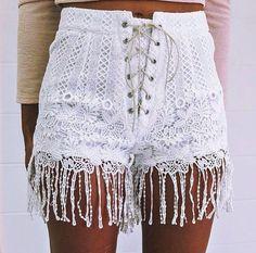White lace shorts.