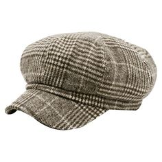 Pattern B Vintage Houndstooth Pattern Embellished Newsboy Hat ($8.10) ❤ liked on Polyvore featuring accessories and hats