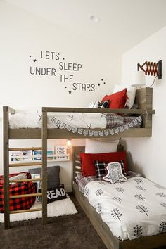 A cute lumberjack room makeover - diy kid room ideas,diy childrens room ideas,diy boy room ideas Bedroom Hacks, Kids Bunk Beds, Boys Bunk Bed Room Ideas, Boys Shared Bedroom Ideas, Shared Kids Rooms, Small Shared Bedroom, Boys Bedroom Ideas Toddler Small, Rooms For Kids, Bunkbeds For Small Room