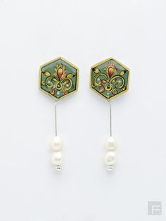 FabIndia // Minakari Long Pearl Earrings