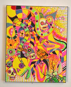 New Original Bright Gothic Psychedelic Wall Art Gift,Day of the Dead Art Gift £120.00