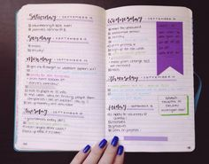 9.25.15 // Haven't posted a bullet journal peek in a while, so here you go!  I've been trying to take full advantage of the bullet journal's flexibility, so I'm training myself to not worry about fitting 7 days on a 2-page spread. Hence the weeks starting with Saturday, because that's just where they started. It's making it easier to not be cautious of how much I write down, and I love it! Also found this v cute blue washi tape the other day at Michaels, and I'm obsessed