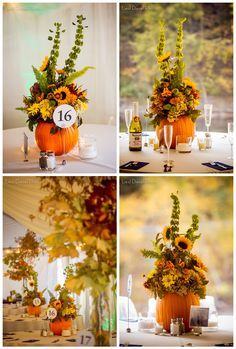 repurposed upcycle outdoor rustic country wedding ceremony reception pumpkin centerpiece fall autumn theme floral sunflowers orange yellow red decor