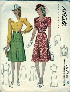 Vintage McCall Sewing Pattern 3689 ©1940 Ladies 2 Piece Dress Size 38