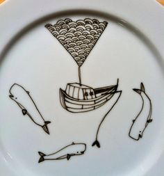 Ship and Whales Plate