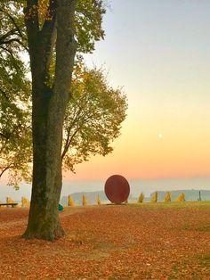 Quel magnifique lever de soleil sur la sculpture de Manuel Torres au Château de Vullierens.