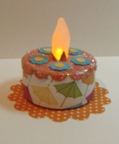 Birthday Cake Candle - battery operated tea light to send as a cake card Birthday Cake Card, Birthday Cake With Candles, Tea Light Candles, Soy Candles, Yankee Candles, Felt Cake, Battery Operated Tea Lights, Light Cakes, Candle Art