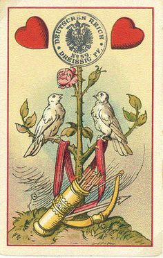 muirgilsdream: Old German playing cards, 2 of Hearts.