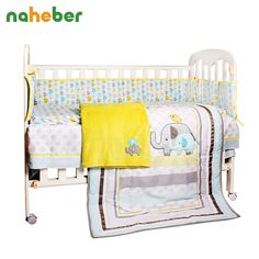 88.04$  Watch here - http://alih1r.worldwells.pw/go.php?t=32484391239 - 8pcs Baby Crib Bedding Newborn Baby Bedding Set Cute Cartoon Elephant Bumpers/Quilt/Fitted Sheet/Bed Skirt/Blanket for Cot