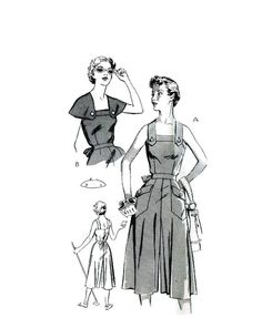 Vintage 1950s Culotte Dress Pattern Uncut by RebeccasVintageSalon, $24.00