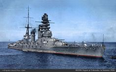Battle Ship Nagato, built in 1920 as the world first battleship equipped with 16.1-inch (41 centimeter) guns, navigating at max. 26.5 knots, the length 225 meters: