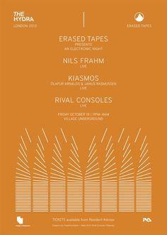 Erased Tapes feat. Nils Frahm | Village Underground | London | https://beatguide.me/london/event/village-underground-the-hydra-erased-tapes-with-nils-frahm-kiasmos-rival-consoles-20131018