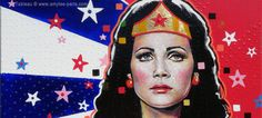 Wonder Woman (Lynda Carter) by Amylee (Paris) The full painting : www.amylee.fr/2013/06/tableau-wonder-woman/