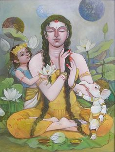 Ganesha Painting, Tanjore Painting, Ganesha Art, Shiva Art, Krishna Art, Shiva Shakti, Om Namah Shivaya, Hindus, Indian Contemporary Art