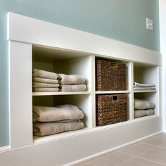 Upstairs Bath - Built In Shelving or Drawers into half wall -- JAS Design Build :: Second Story Additions :: All Buttoned Up