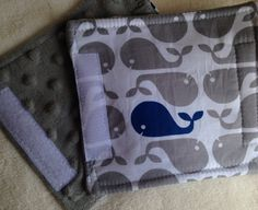"Whales Car Seat Strap Covers nautical theme Baby Toddler 5.5"" Set Padded for Boys Reversible Grey Minky Dot Copy on Etsy, $6.00"